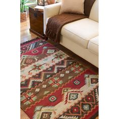 Hand-woven Red/Tan Southwestern Aztec Louise Wool Flatweave Rug (5 x 8) | Overstock.com