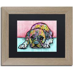 Trademark Fine Art 'Lying Boxer' Canvas Art by Dean Russo, Black Matte, Birch Frame, Assorted