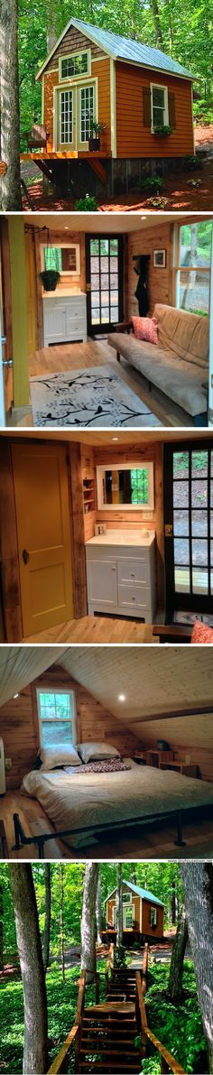The Otter Den: a 140 sq ft tiny house in the woods of Georgia by robyn Tiny Guest House, Tiny House Cabin, Up House, Tiny House Living, Tiny House Plans, Tiny House On Wheels, House In The Woods, Little Cabin, Little Houses