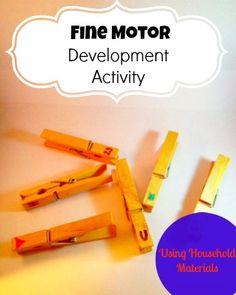 Fine Motor Development Activity for #Preschool age #Easy #Fun Using Common household materials