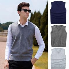 b79ae77162 Hirigin 2018 Men Sleeveless Sweaters Knitted Warm Wool V Neck Sweaters  Fashion Solid Autumn Vest Outwear Clothes Men Plus Size