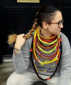 Unique/ Yarn Wrapped Necklace/ Street fashion/ African Beaded Necklace, Necklaces, Babywearing, Street Fashion, African, Street Style, Trending Outfits, Unique Jewelry, Handmade Gifts