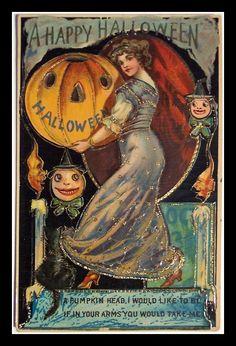 Halloween. Vintage Halloween Card Ideas Part 2. Classic Lady Bin Barn Smiley Halloween Pumpkins And Candles Vintage Halloween Card