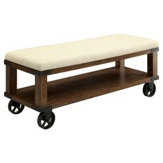 The Furniture of America Veren Cushioned Castor Wheel Bench in Light Oak is an industrial style design crafted with a little bit of country-inspired charm. A padded top fabric upholstered cushion provides a comfy seating area while the thick wood frame adds stable durability. The Furniture of America Veren Cushioned Castor Wheel Bench in Light Oak is complete with large caster wheel accents.