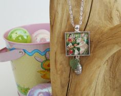 """Easter Pendant Vintage Easter Bunny Easter Eggs 1"""" Square Silver Tone with Leaf and Easter Egg Charm and 24"""" Silver Tone Necklace Chain"""