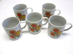 Coffee Cups Set of Five White & Multi Colored by sweetie2sweetie, $12.99