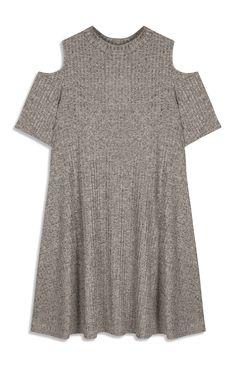 Wijde grijze jurk met open schouders