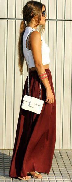 Dark Red Plain Draped Pockets Loose Elastic Waist Maxi Skirt