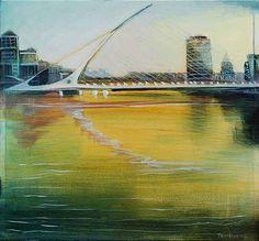 """Tom Byrne """"Beckett Bridge"""" #bridge #yellow #irishart"""