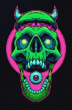 Cross Stitch Skull, Peler Beads, Artwork Ideas, Perler Bead Art, Skull And Crossbones, Plastic Canvas Patterns, Pixel Art, Skulls, Mascara