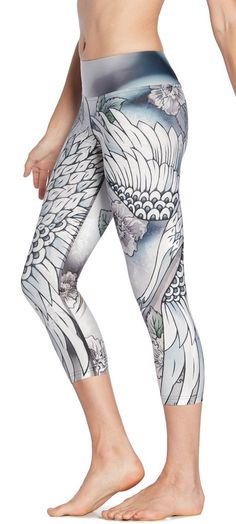 close up side view of flying crane themed printed capri leggings Capri Leggings, Capri Pants, Shops, Compression Pants, Workout Wear, Triathlon, Printed Leggings, Casual Wear, My Style