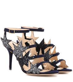 CHARLOTTE OLYMPIA Twinkle Toes Embellished Suede Sandals. #charlotteolympia #shoes #current week