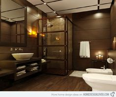 brown bathrooms decorating ideas | 18 Sophisticated Brown Bathroom Ideas | Home Design Lover