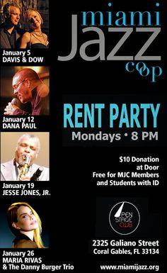 Miami Jazz Co-op Rent Party TONIGHT! 1/4 - Start your NEW JAZZ YEAR w/ DAVIS & DOW! January Line-up Announced! #MiamiJazzCoop #JazzBluesFlorida