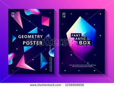 Set of abstract trendy cosmic posters with crystal gems and pyramid geometric shapes. Poster with geometric polygon pyramid or crystal. Neon Backgrounds, Wallpaper Backgrounds, New Nature Wallpaper, Yearbook Design, Galaxy Background, Galaxy Art, Geometric Shapes, 80s Style, Illustration