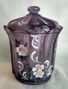 Fenton Purple Glass HP Jar by Stacy Williams Ltd Ed
