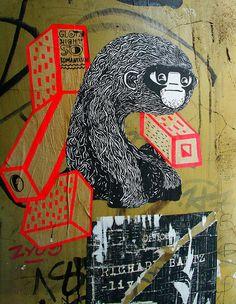Street Art HH Dez2012 paste ups (1) by liborius on Flickr.A través de Flickr:  paste up poster cut out street art hamburg schanzenviertel ape affe monkey simian cartoon comic drawing zeichnung Street Mural, Street Art Graffiti, Banksy Monkey, Berlin Graffiti, Pavement Art, Graffiti Tagging, Graffiti Wallpaper, Comic Drawing, City Style
