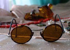 30-40s New Fashion Retro Bakelite Frame Round BROWN Lens Glasses Sunglasses  #Round