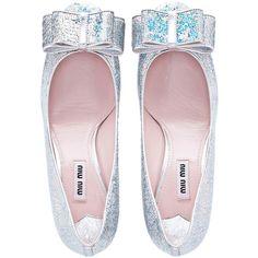 Miu Miu Pumps ($890) ❤ liked on Polyvore featuring shoes, flats, heels, miu miu, studded flats, miu miu shoes, leather sole shoes and sequin shoes