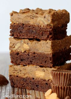 Brownies with a Chocolate Layer of Cocoa Pebbles, Reese's, Butterfingers, Chocolate Chips and more! YUM!!