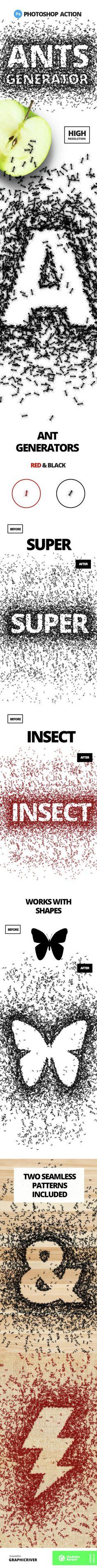 Ants Generator - Photoshop action. Creative & Unique