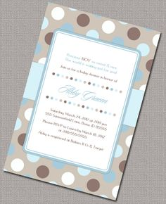 DIY Boy Baby Shower Invitations, Baby boy shower invite, blue and brown polkadots, digital printable file - Design 858