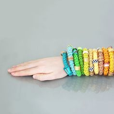 Love these crocheted bracelets! #colorful #crochet #accessories