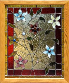 Antique American Victorian Stained Glass Window.