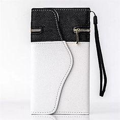 черный и белый бумажник PU кожаный с карточкой Solt для Iphone 6