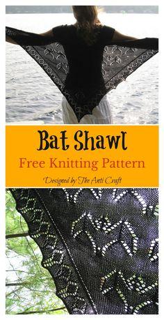 Chunky Knitting Patterns, Free Knitting, Knit Patterns, Gothic Pattern, Bat Pattern, Knitted Shawls, Crochet Shawl, Crochet Bat, Halloween Patterns