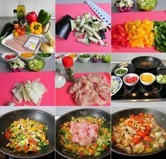 Wok de Verduras con Pollo y salsa de Soja (plato completo y variado). Ana Belen Entulinea Palo-Pto Torre.