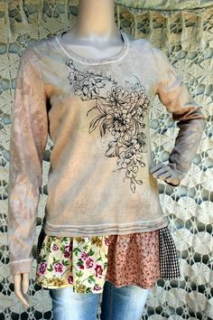 REVIVAL Women's Upcycled Floral Knit Shirt, Shabby Chic, Peplum, Hand Dyed, Beaded, Size Medium to Large, Recycled, Repurposed, EcoFriendly