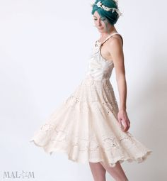 Cream Crochet Dress - Cinderella dress in off-white and beige crochet sz M - Wedding eco-friendly dress