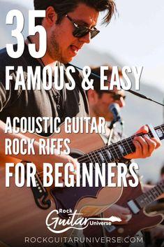 35 Famous & Easy Acoustic Guitar Rock Riffs For Beginners – Rock Guitar Universe Guitar Chord Chart, Guitar Tabs, Cool Guitar, Easy Guitar, Ukulele, Guitar Scales, Guitar Riffs, Guitar Songs, Learn Acoustic Guitar