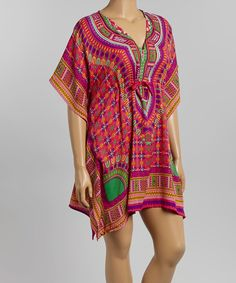 This Red & Orange Mosaic Caftan - Plus by Life and Style Fashions is perfect! #zulilyfinds