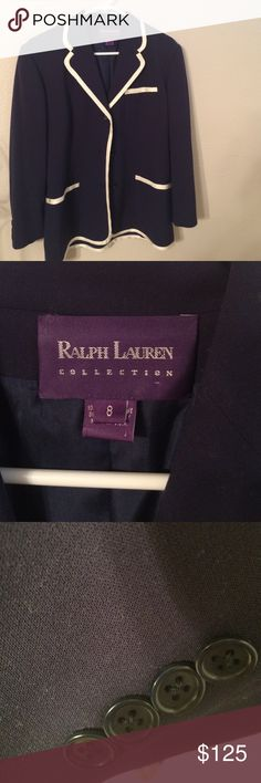 Ralph Lauren. Purple label 💯 wool knit blazer Beautiful knit 💯 wool vintage blazer. Still has great value silk piping two front pockets all buttons still attached. Navy. BLue very nautical Ralph Lauren Purple Label Jackets & Coats Blazers