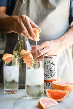 """Summer should be all about refreshing sparkling seltzer drinks like this White Claw Ruby Grapefruit Hard Seltzer, Prosecco and fresh rosemary. If I had to choose a """"hammock drink"""". Beste Cocktails, Summer Cocktails, Cocktail Drinks, Cocktail Recipes, Refreshing Drinks, Fun Drinks, Beverages, White Claw Hard Seltzer, Keto Diet Book"""