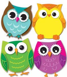 Express your contemporary sense of style by decorating your classroom with the Colorful Owls assorted mini Colorful Cut-Outs(R). This multipurpose set features 36 owl cut-outs in a variety of colors t Owl Classroom Decor, Classroom Themes, Classroom Labels, Classroom Teacher, Kindergarten Classroom, Owl Crafts, Crafts For Kids, Arts And Crafts, Cubby Tags