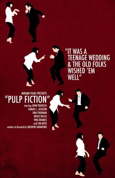 """film poster design Quentin Tarantino's """"Pulp Fiction"""" Film PosterThis is an original poster designed by me, the artist. Digitally printed on matte card stock. NOT be shi Pulp Fiction Poster, Pulp Fiction Film, Quentin Tarantino Pulp Fiction, Tarantino Films, Best Movie Posters, Minimal Movie Posters, Cinema Posters, Movie Poster Art, Image Cinema"""