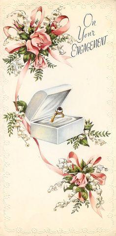 """""""On Your Engagement"""" ~ Vintage postcard Vintage Wedding Cards, Vintage Wedding Invitations, Vintage Greeting Cards, Vintage Postcards, Vintage Pictures, Vintage Images, Decoupage, Old Cards, Engagement Cards"""