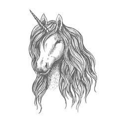 Unicorn head with mane vector sketch by Vector Tradition SM on Unicorn Head, Unicorn Art, Business Illustration, Graphic Illustration, Unicorn Sketch, Unicorn Pictures, Unicorn Pics, Unicorn And Fairies, Unicorn Tattoos