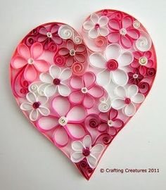 25 DIY Valentine's Day Paper Heart Crafts - Curled paper flowers within a heart! Great for Valentines Day, Weddings, or just because! Mothers Day Crafts, Valentine Day Crafts, Kids Valentines, Valentine Ideas, Decoration St Valentin, Valentines Bricolage, Paper Quilling Flowers, Heart Projects, Toilet Paper Roll Crafts