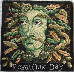 Rag rug depicting King Charles II as a green man to commemorate Oak Apple Day on May. Oak Apple Day commemorates when Charles II hid in the Royal Oak at Boscobel to escape from Cromwell's men, after the Battle of Worcester in Welsh Marches, Royal Oak, Summer Solstice, Green Man, King Charles, Deities, Painting & Drawing, Celtic, Woodland