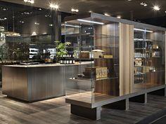 Cuisine intégrée avec îlot sans poignées Collection HT50 by Rossana | design Massimo Castagna