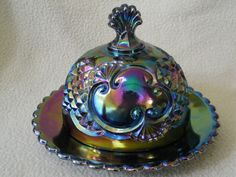 Vintage blue purple covered butter dish  (My sweet Mother-n-Law bought a very old butter dish like this for my birthday!)