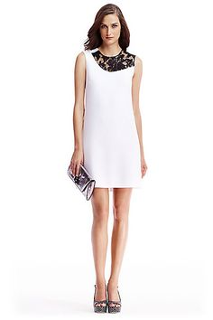 DVF Kaleb Ceramic and Embellished Lace Shift Dress in in White/ Black