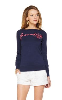 Who wouldn't love a Lilly Firecracker sweater? Marielle Boatneck Intarsia Sweater from Lilly Pulitzer.