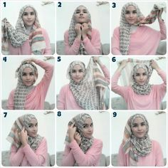 Tutorial Hijab By Mayra Hijab: Cara-Cara Berhijab Terbaru Untuk Wajah Bulat Simple Hijab Tutorial, Hijab Style Tutorial, Stylish Hijab, Hijab Chic, Islamic Fashion, Muslim Fashion, Hijab Mode Inspiration, How To Wear Hijab, Hijab Stile