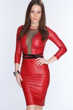 Walk with confidence to your next party or event in this sultry and chic dress! Make it an edgy look with spikey pumps or booties, you cant go wrong! Featuring a faux leather fabric, high polished attached elastic strap belt, mesh cut out, long sleeve, and a sexy fitted pencil skirt. 95% Polyester 5% Spandex. Made in USA.