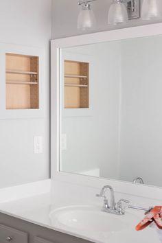 Best Bathroom Lighting Over Mirror Diy Sinks 19 Ideas Wood Framed Bathroom Mirrors, Glass Bathroom Sink, Bathroom Mirror Makeover, Mold In Bathroom, Wooden Bathroom, Large Bathrooms, Diy Mirror, Amazing Bathrooms, Small Bathroom